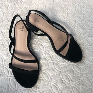 H&M Strappy Slingback Low Heel Sandals in Black 6